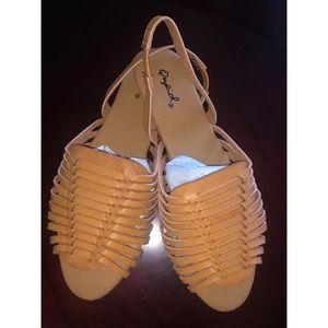 Womens Qupid Basket Weave Sandals